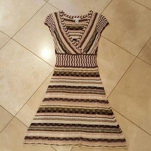 V neck sweater dress